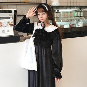 Mori Girl Autumn Winter Women Elegant Dress Peter Pan Collar Bow Japanese Lolita Style Dress Flare Sleeve Kawaii Velvet Dresses girl