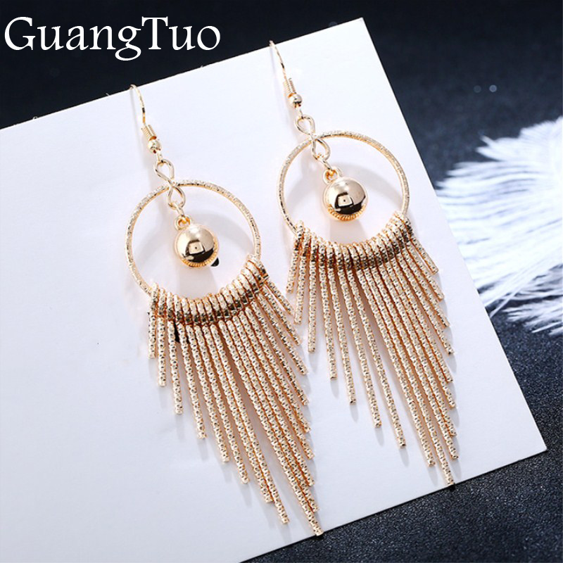 European American Exaggerate Big Round Swing Earrings For Women Geometric Shiny Tassel Long Drop Brincos Fashion Jewelry