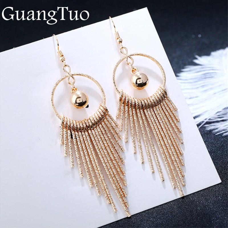 European American Exaggerate Big Round Swing Earrings For Women Geometric Shiny Tassel Long Drop Brincos Fashion Jewelry