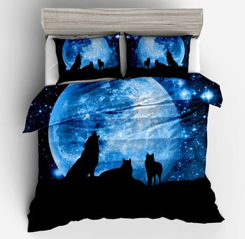 3D Galaxy Wolf Animal Print Comforter Bedding Set duvet cover pillow caseTwin Full Queen Size Bedclothes Universe Outer Space