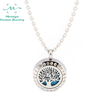 10pcs Mesinya 20mm Tree of Life Aromatherapy / Essential Oil Surgical Stainless Steel Diffuser Custom Locket Necklace