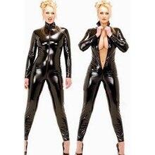 Черный комбинезон из искусственной кожи с длинным рукавом и открытой промежностью с молнией, сексуальное женское белье, латексный комбинезон, фетиш одежда, сексуальные костюмы