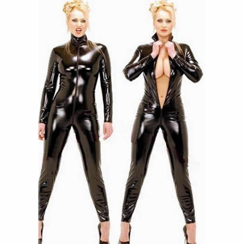 Zwart wetlook Faux Leather Lange Mouwen Open Kruis pvc Catsuit met Rits Sexy Lingerie Latex Catsuit Fetish Wear Sexy Kostuums