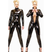 Black wetlook Faux Leather Long Sleeve Open Crotch pvc Catsuit with Zipper Sexy Lingerie Latex Fetish Wear Costumes