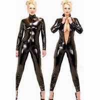 Schwarz wetlook Faux Leder Langarm Öffnen Gabelung pvc Catsuit mit Zipper Sexy Dessous Latex Catsuit Fetisch Tragen Sexy Kostüme