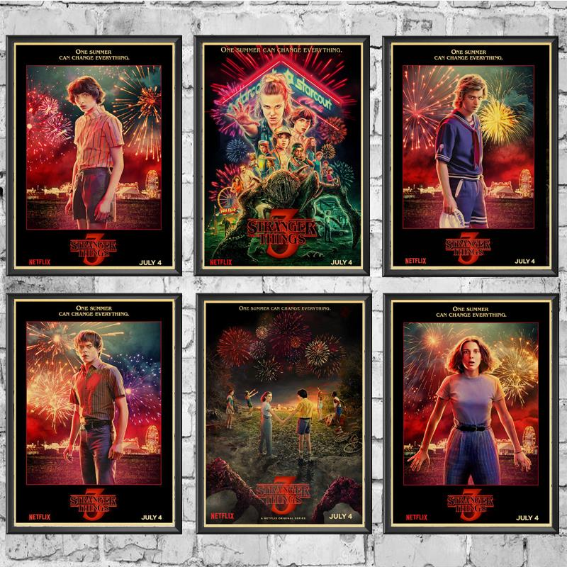 Vintage Poster New TV Stranger Things 3 Retro Poster Kraft Paper Wall  For Home/Room/Bar Decor Painting Decals