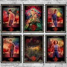 ВИНТАЖНЫЙ ПЛАКАТ ТВ странные вещи 3 Ретро плакат крафт-бумага стены для дома/комнаты/бара Декор наклейки с росписью