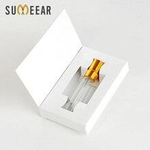 100 części/partia 5ML konfigurowalne pudełka papierowe i szklane butelki perfum z atomizerem puste opakowania perfum własne LOGO na prezent