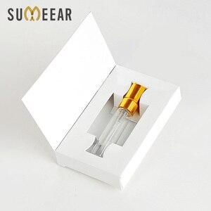 Image 1 - Unids/lote de 100 cajas de papel personalizables y botella de Perfume de cristal con atomizador, embalaje al vacío de Perfume, logotipo personalizado para regalo, 5ML