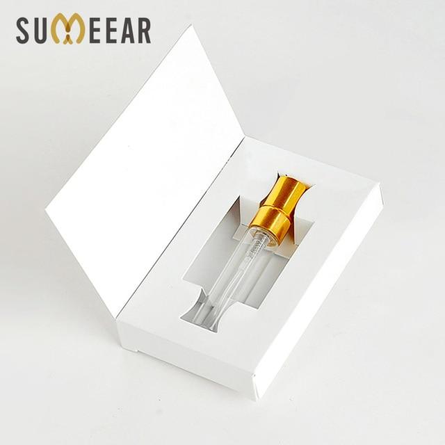 Unids/lote de 100 cajas de papel personalizables y botella de Perfume de cristal con atomizador, embalaje al vacío de Perfume, logotipo personalizado para regalo, 5ML
