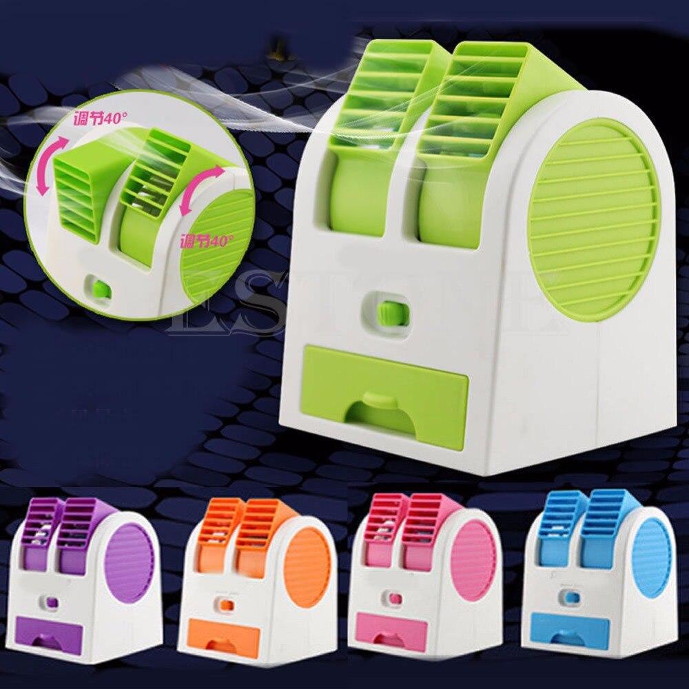 Mini USB Small Fan Cooling Portable Desktop Dual Bladeless Air Conditioner portable usb no leaf fan mini bladeless refrigeration desktop air conditioner y05 c05
