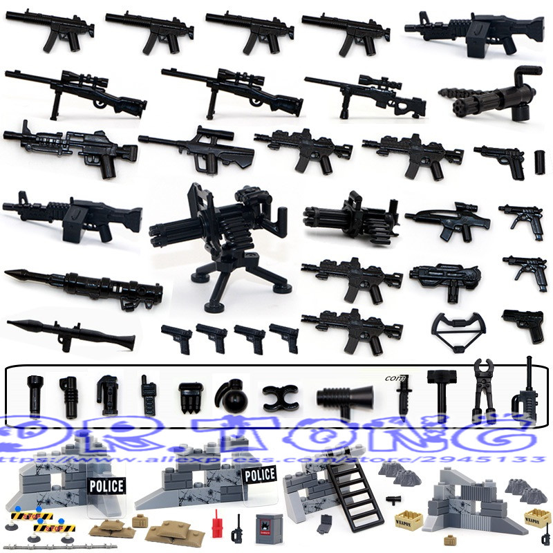 DR.TONG Military Series Swat Police Gun Weapons Pack Army Weapon Brick For City Police Building Blocks Bricks Child Gift Toys police station swat hotel police doll military series 3d model building blocks construction eductional bricks building block set