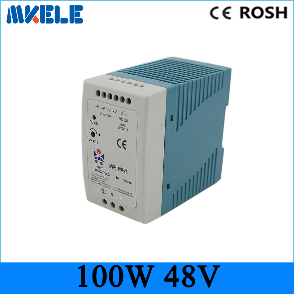 ФОТО New Arrival High Quality Voltage Transformer CE LED Display smps din rail switching power supply 100w 48v MDR-100-48