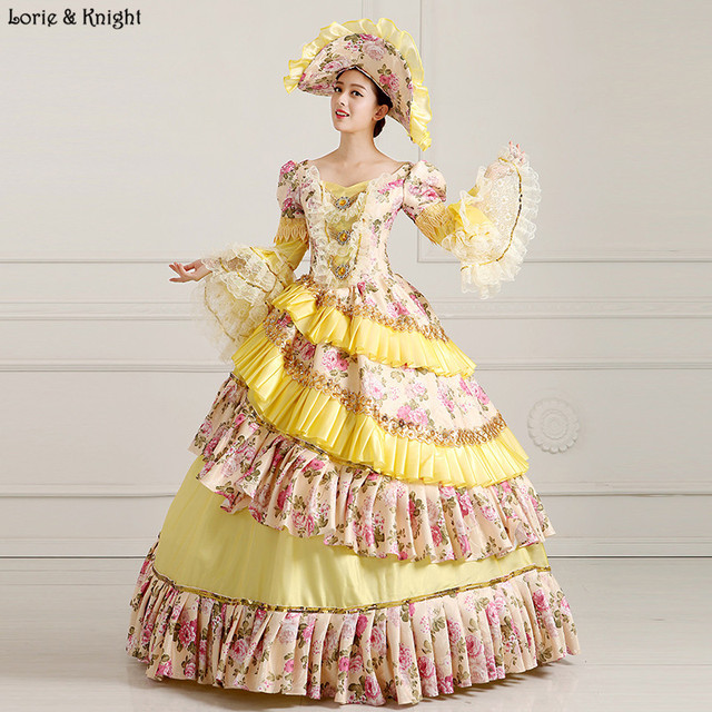 Princess Sissi & Marie Antoinette Dress Inspired Royal Ball Gowns Quinceanera Dress Bridal Masquerade Ball Gown Yellow