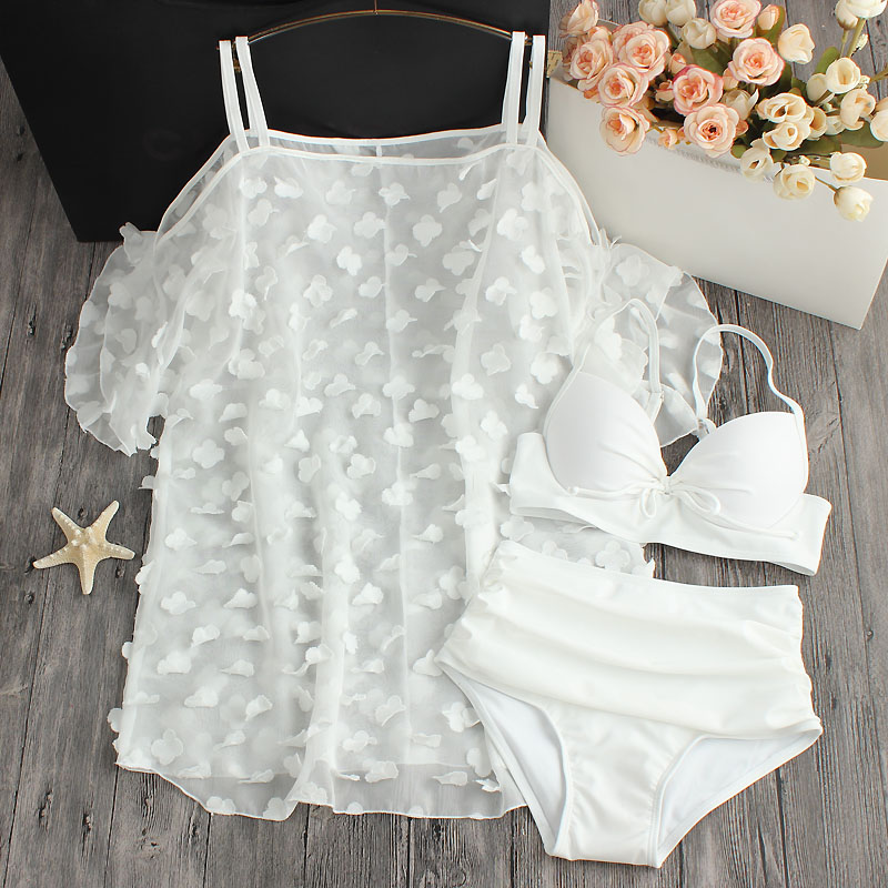 2018 Promotion Petals White Pure Chiffon Blouse Small Chest Waist Size Gather Three Piece Swimsuit Female Hot Bikinis haisile 2015 new swimsuit korean spa small chest steel holder bikini three sets of 1525