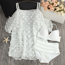 цены 2018 Promotion Petals White Pure Chiffon Blouse Small Chest Waist Size Gather Three Piece Swimsuit Female Hot Bikinis