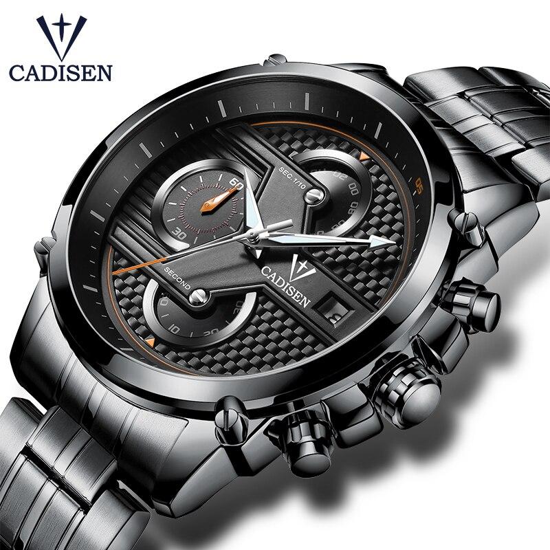 все цены на CADISEN Men's Fashion Multifunction Quartz Watch Male Military Wristwatches Waterproof Stainless Steel Watches Relogio Masculino
