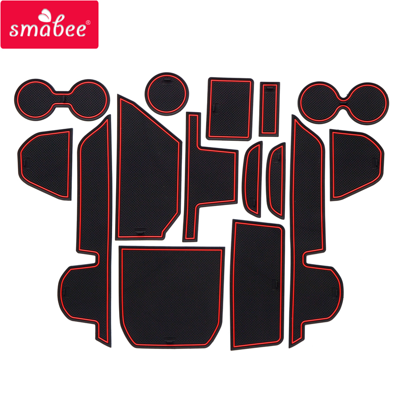 Smabee Car Gate Slot Mats For Mazda 8 2009 - 2016 MAZDA8 Interior Accessories Door Groove Mat RED WHITE