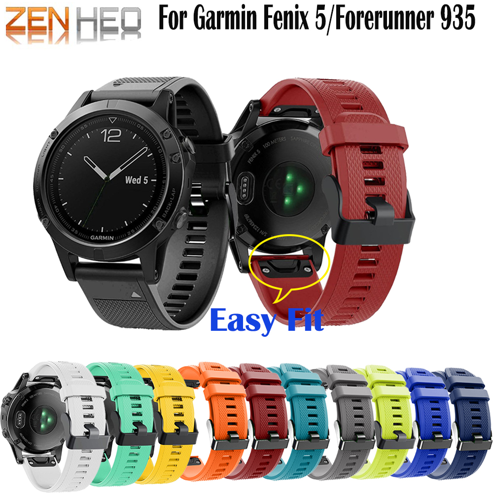 For Garmin Fenix 5 Sport Band 22MM Quick Release Silicone Watchband Strap for Garmin Fenix 5 5 Plus forerunner 935 Wrist Bands in Smart Accessories from Consumer Electronics