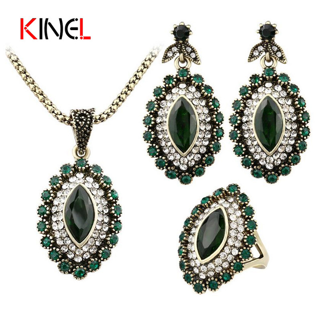Fashion Vintage Turkey Jewelry Sets Gold Color Austrian Green Crystal Necklace E
