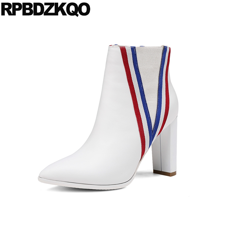 Shoes Waterproof Winter Boots Women Chunky Genuine Leather Pointy Slip On Casual High Heel British Short White Ankle Designer