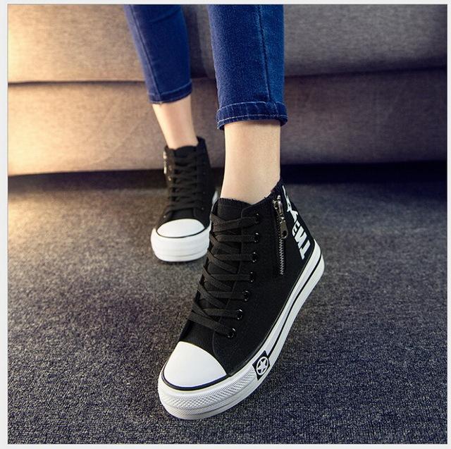 2017 Primavera/Otoño la edición de han zapatos de lona de la plataforma femenina viento ayuda con la universidad de tela de las mujeres Estudiantes zapato casual