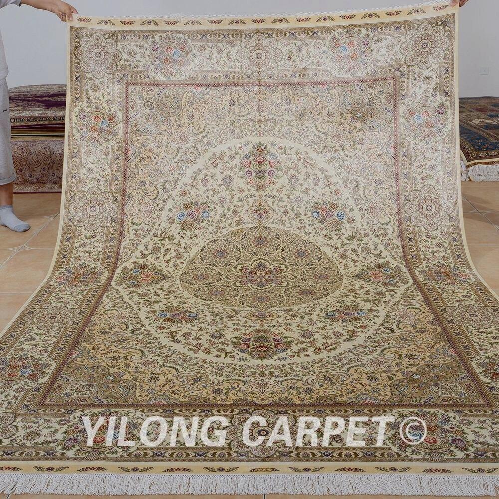 Traditional Kashmir Silk Handmade Hand Knotted Persian: Yilong 6'x9' Handmade Turkish Silk Carpets Beige
