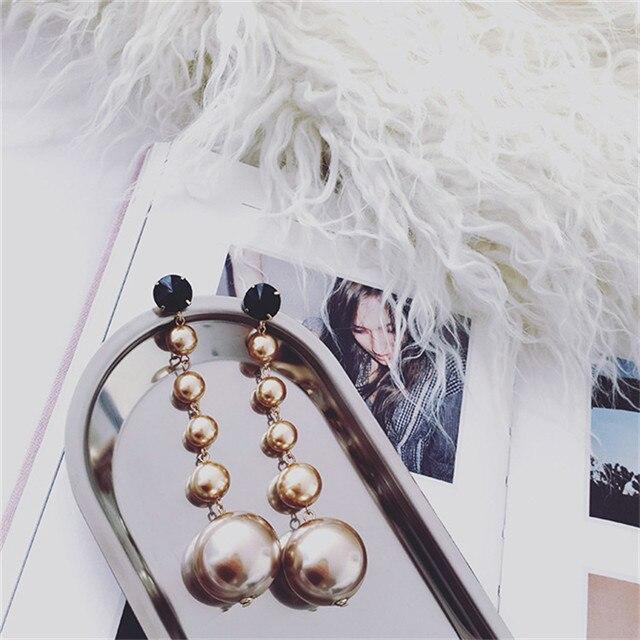 girl runway fashion Brown pearl long Tassel earrings hanging design for women maxi brinco luxury jewelry long pearl earrings