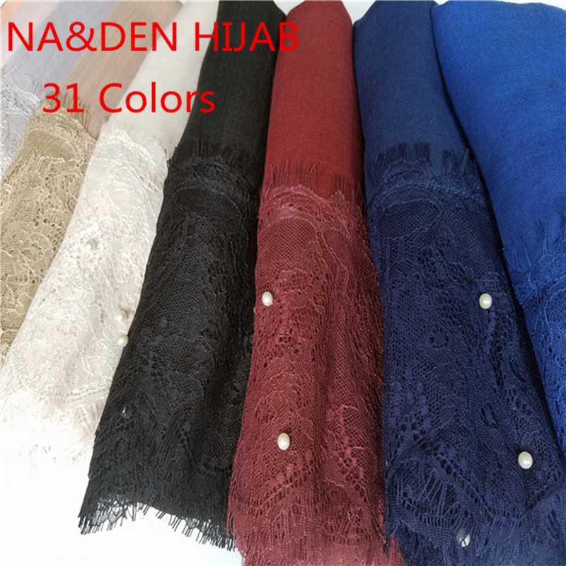 2020 NEW 31 Color Luxury Pearl Lace Hijab Scarf Plain Maxi Shawl Popular Muslim Lace Scarfs Headbands Hot Sale 1pc High Quality