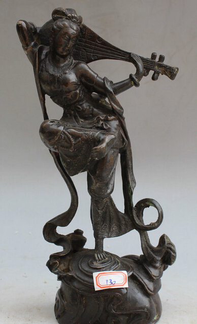 7 Old Chinese Bronze Folk Stand Palace belle Girl Lady play musical Lute Statue R07117 Old Chinese Bronze Folk Stand Palace belle Girl Lady play musical Lute Statue R0711