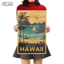 Painting Bar-Poster Decorative Wall-Sticker Tie Ler Hawaii Vintage Aloha Kraft-Paper