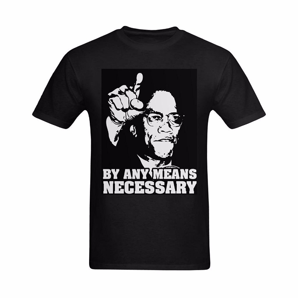 vistaprint store Funny T-Shirts Fashion Street Hip Hop Fitness Tee Tops T-shirt Malcolm X By Any Means Necessary Print Tee Shirt Homme
