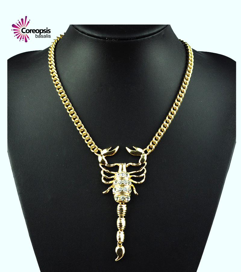 hot sale brand paragraph Exaggerated personality retro alloy chain necklace fashion CZ Scorpion Pendant Sweaters necklace women