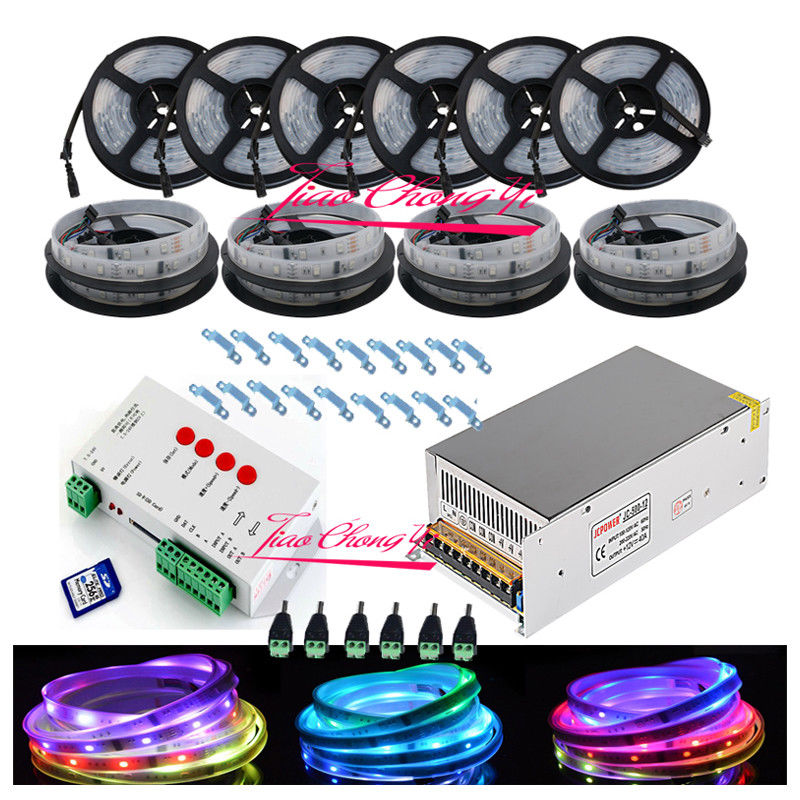 50 M 5050 RGB Dream Color 6803 LED bande + T1000S Controll + 12 V 40A 500 W puissance