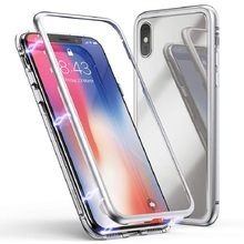 Metal Magnetic Case for iPhone XR XS MAX X 8 Plus 7 +Tempered Glass Back Magnet Cases Cover for iPhone 7 6 6S Plus Case metal magnetic case for iphone 11 pro xr xs max x 8 plus 7 tempered glass back cover for fundas iphone 7 8 6 6s plus case bumper