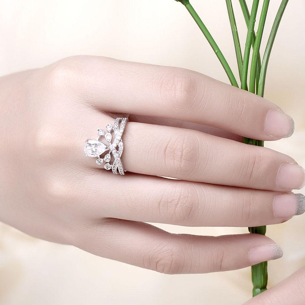 MEGREZEN Adjustable Wedding Rings For Women Silver Jewellery Vintage ...
