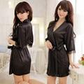 Новый 2016 Hot Sexy Женщины Атласные Кружева Халат Пижамы Ночной Рубашке 5 Цветов Ночные Рубашки Домашняя Одежда