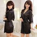 Nuevo 2016 Hot Sexy Mujeres ropa de Dormir de Encaje Satinado Robe Camisón 5 Colores Camisones Ropa Interior