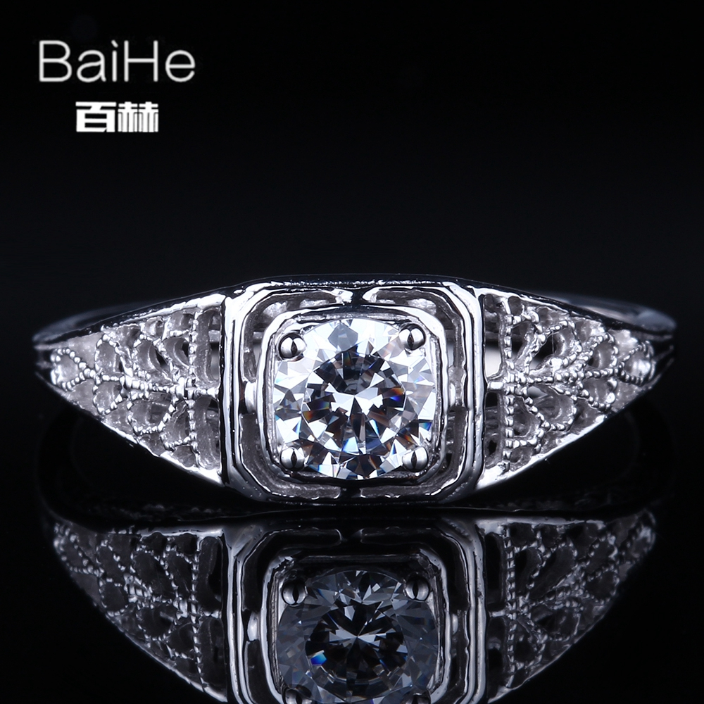 BAIHE Solid 14K White Gold(AU585)  0.8CT Certified Flawless Genuine AAA Graded Cubic Zirconia Engagement Women Fine Jewelry RingBAIHE Solid 14K White Gold(AU585)  0.8CT Certified Flawless Genuine AAA Graded Cubic Zirconia Engagement Women Fine Jewelry Ring