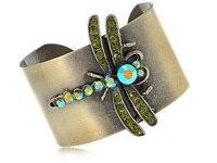 Bronze Tone Ouro Verde Olivina Cristal Rhinestone Dragonfly Cuff Bracelet Bangle [Jóia]