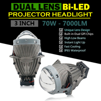 Universal 3 inch Dual Chips Hyperboloid Lens Bi LED Projector Headlight Hi/Lo Beam Car HID Bi H7 Headlight Conversion Kit