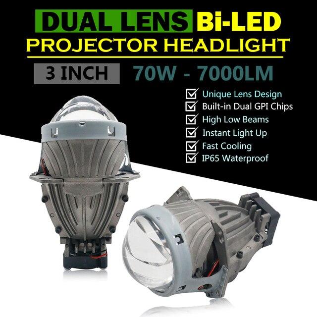 "Universal 3"" inch Dual Chips Hyperboloid Lens Bi LED Projector Headlight Hi/Lo Beam Car HID Bi H7 Headlight Conversion Kit"