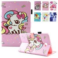 Cho Fundas Samsung Galaxy Tab Một 10.1 A6 T580 T585 Trường Hợp thời trang Unicorn Lật Folio PU Leather Đứng Bìa Trường Hợp Mềm TPU SM-T580C