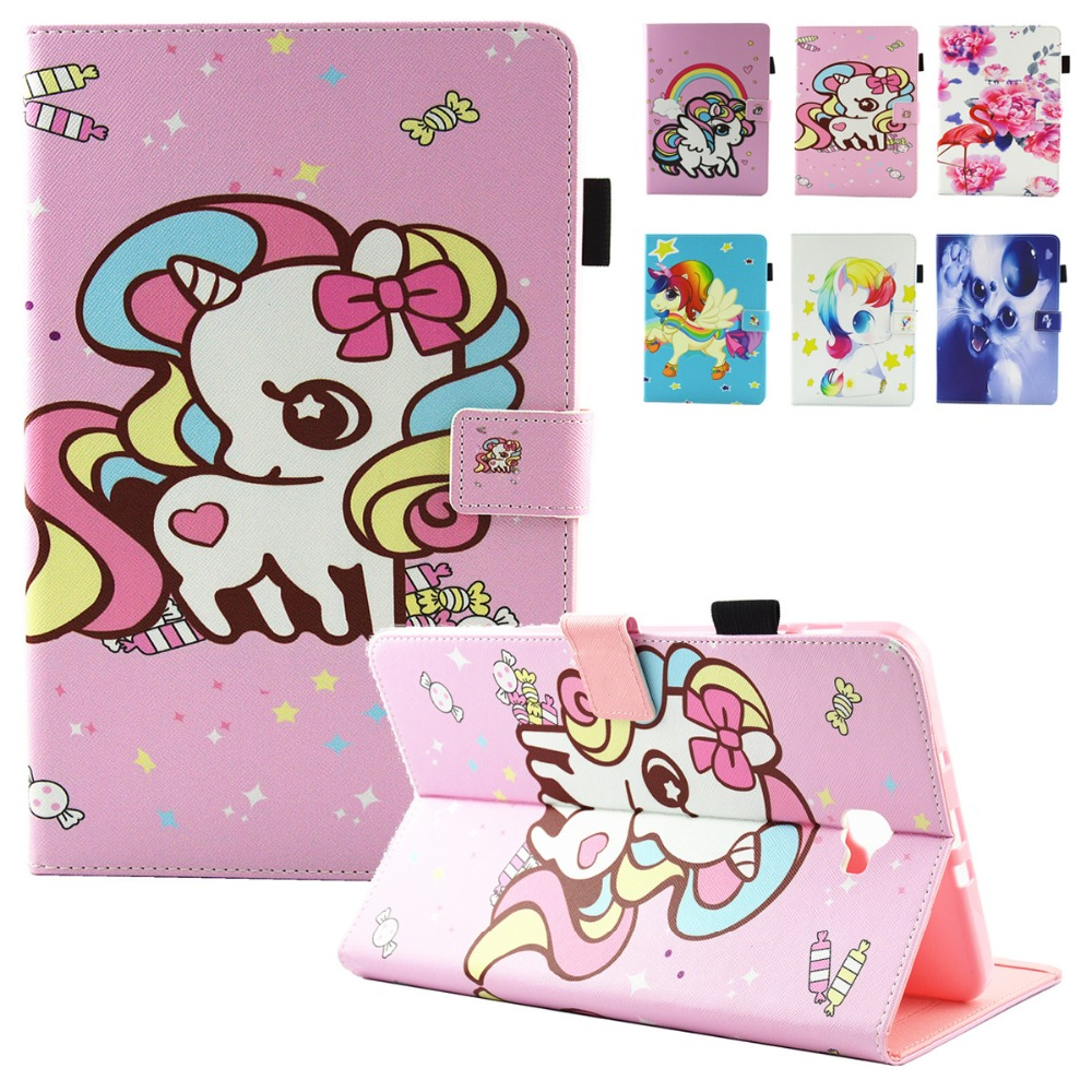 For Fundas Samsung Galaxy Tab A 10.1 A6 T580 T585 Case Fashion Unicorn Flip Folio PU Leather Stand Cover Cases Soft TPU SM-T580C ...
