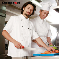 Free Shipping Cook Suit Short Sleeve Chef Clothes Checkedout Chef Jacket Cheapest Chef Shirt