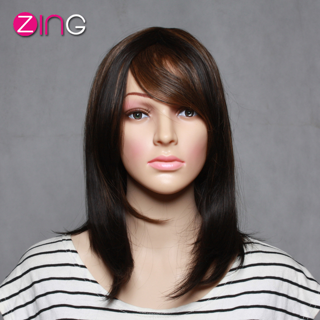 High Quality Cute Short Haircuts Synthetic Wigs For Women Half Brown Half  Black Wig Straight Women s Wig Synthetic Hair Wigs 0e93921c55