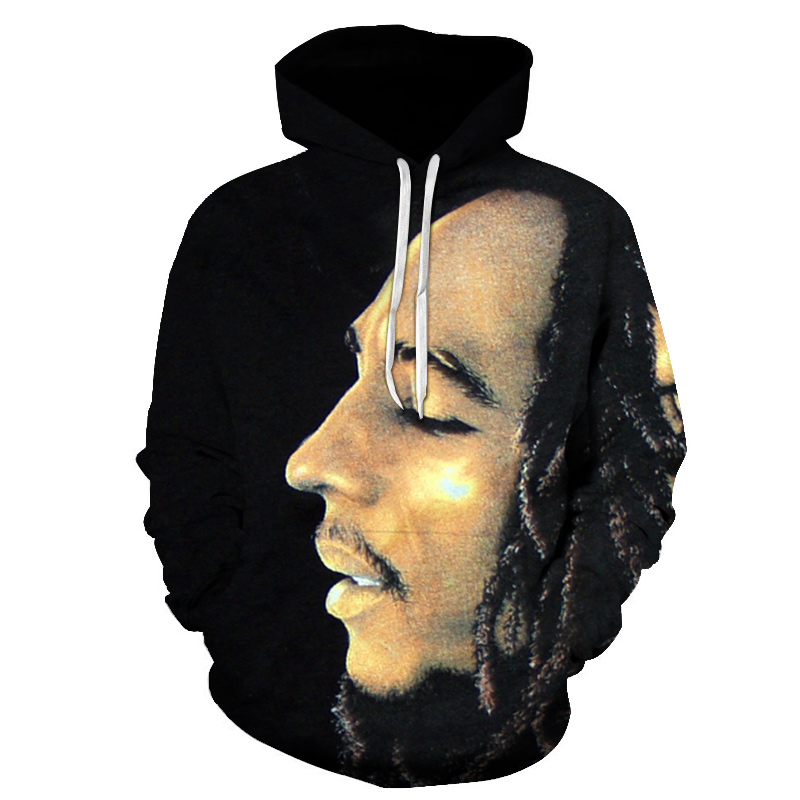 Cool Bob Marley Hoodie Sweatshirt Men 2019 New Fashion Bob Marley Print Rock Hip Hop Reggae Clothing Black Pullover Sweartshirt