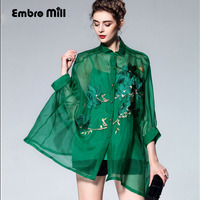High end vintage royal embroidery floral silk women green blouse shirt European runway 3/4 sleeve lady organza loose shirt 3XL