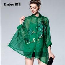 1ac64dc0791ba97 Высококачественная винтажная королевская вышивка цветочный шелк женская  зеленая блузка рубашка Европейская подиумная 3/4 рукав