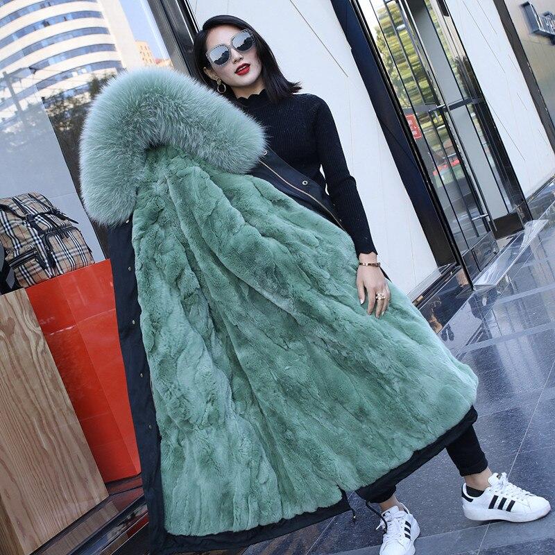 2018 nouveau grande taille Long réel manteau de fourrure pour les femmes à capuche détachable naturel lapin fourrure Parkas hiver Chaqueta Mujer femmes manteau de fourrure